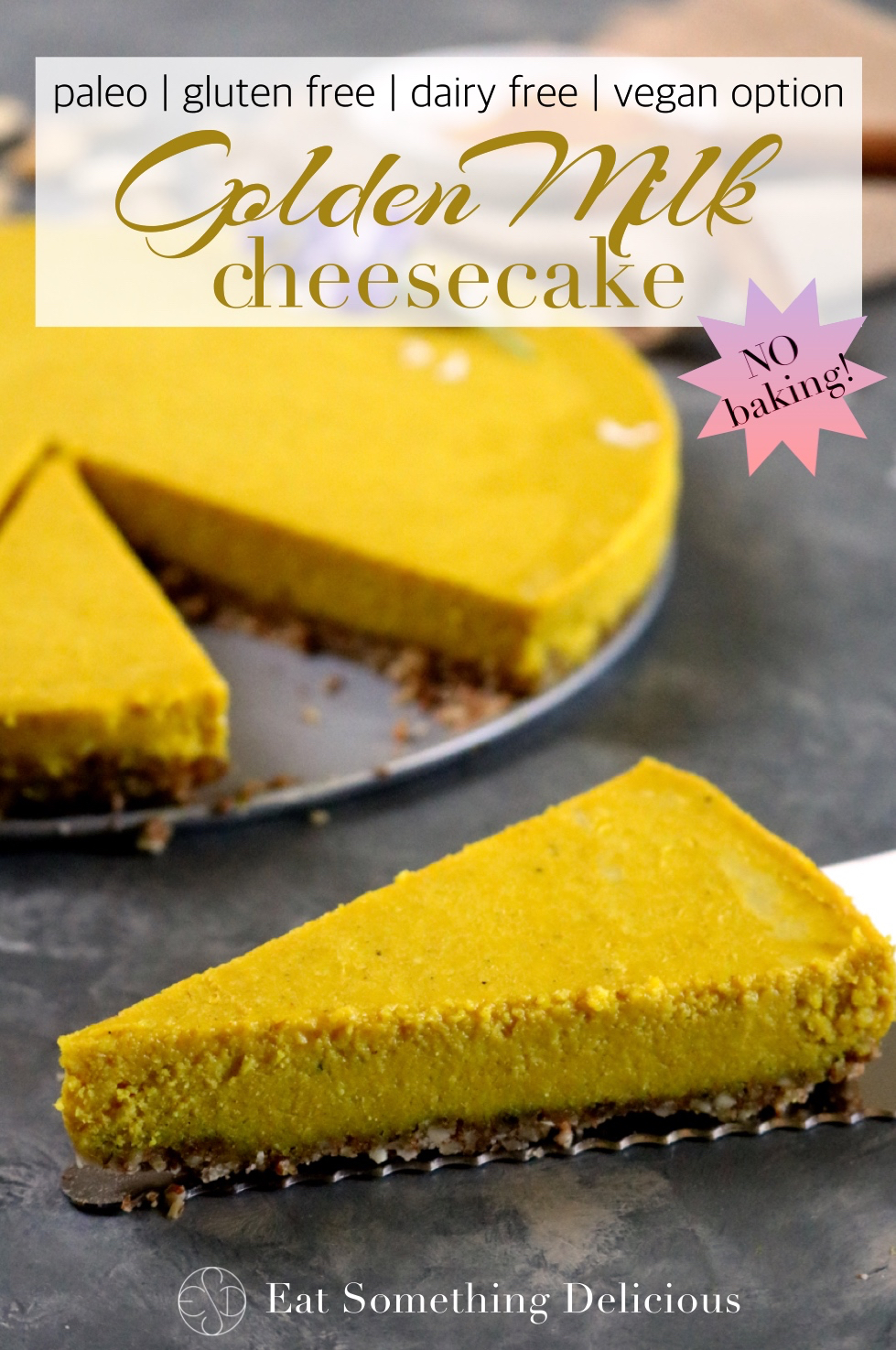 No Bake Golden Milk Cheesecake | No bake golden milk cheesecake is packed with delicious spices and uses a creamy cashew based filling to make it dairy free. Gluten free/paleo/vegan option. | eatsomethingdelicious.com