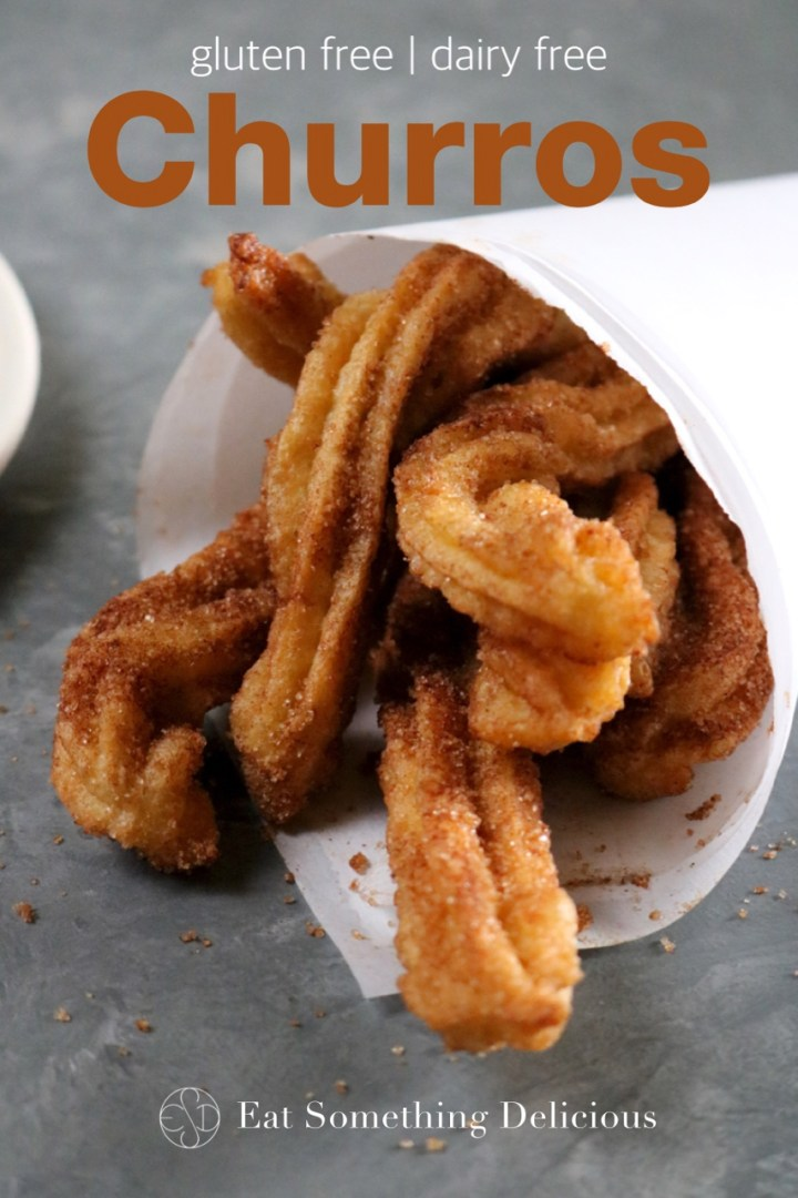 Churros | Churros made from gluten free, dairy free pâte à choux which is fried until crisp and dusted in cinnamon sugar. | eatsomethingdelicious.com