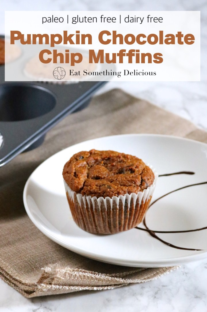 Pumpkin Chocolate Chip Muffins | Almond flour based muffins flavored with pumpkin, pie spice, and lots of chocolate. Make them in a blender for easy cleanup. Paleo/ gluten free/ dairy free | eatsomethingdelicious.com