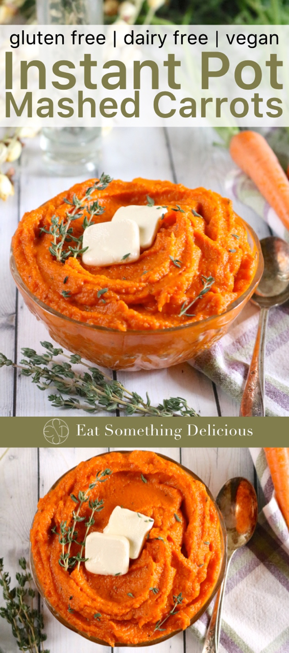 Instant Pot Mashed Carrots | Buttery yet light and silky, these vegan mashed carrots cook for 5 minutes in the Instant Pot. Perfect for Thanksgiving or enjoy them as a side anytime! | eatsomethingdelicious.com