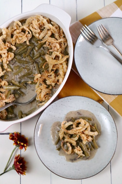 Green Bean Casserole | Put green bean casserole back on your Thanksgiving menu with this gluten free, dairy free version. Just as good as the original and includes a vegan option! | eatsomethingdelicious.com