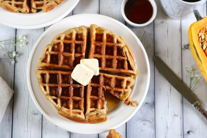 Delicata Squash Waffles | Gluten free, dairy free waffles made in a blender with delicata squash, pumpkin spice, and vanilla. Try substituting other winter sqashes. Paleo option. | eatsomethingdelicious.com