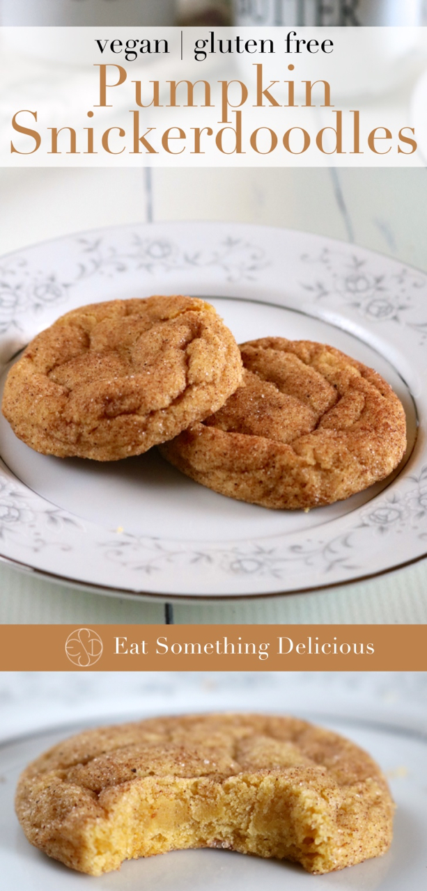 Pumpkin Snickerdoodles | Soft and fluffy pumpkin snickerdoodles with a rich pumpkin flavor coated in sugar and pumpkin spice. Vegan and gluten free. | eatsomethingdelicious.com