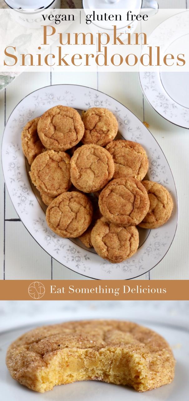Pumpkin Snickerdoodles | Soft and fluffy pumpkin snickerdoodles with a rich pumpkin flavor coated in sugar and pumpkin spice. Vegan and gluten free. | eatsomethingdelicious.com