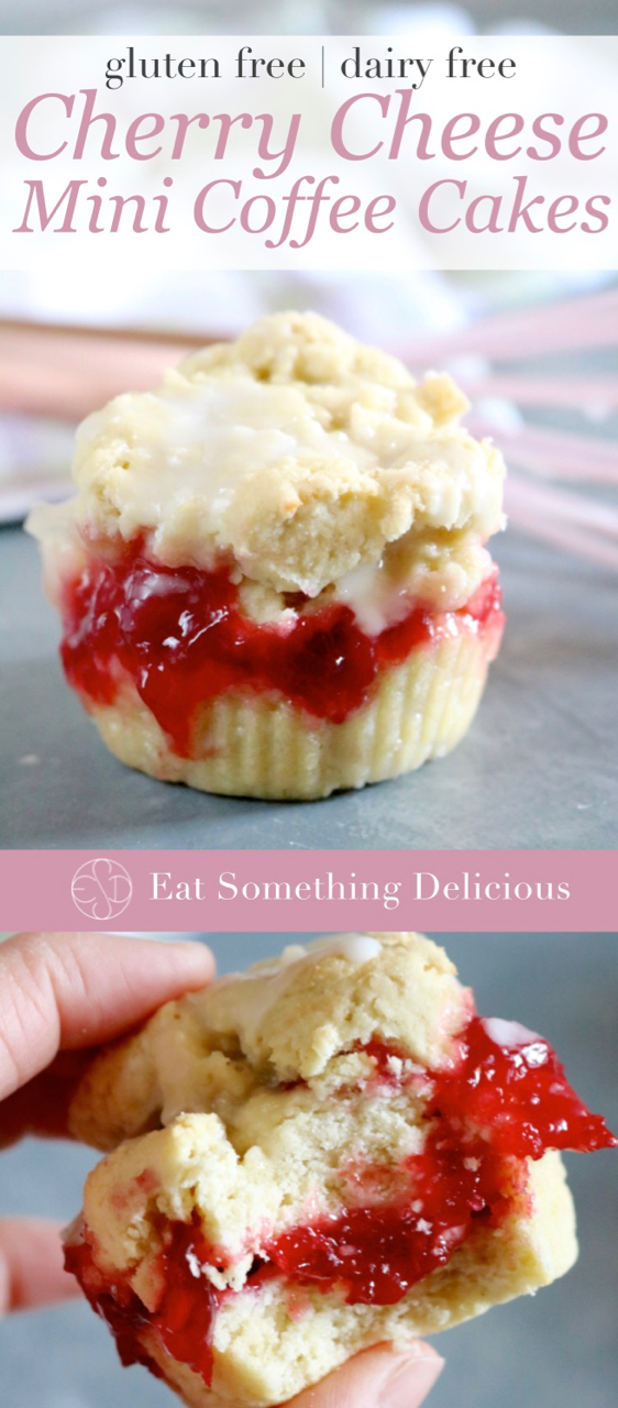 "Cherry Cheese Mini Coffee Cakes | A gluten and dairy free twist on classic cherry coffee cake. These single serving cakes include layers of cherry pie filling and dairy free cream ""cheese"". 
