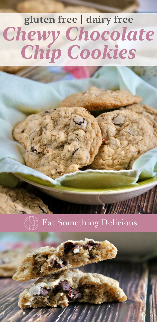 "A type of image generally used to share on Pinterest, this contains two separate photos of cookies joined together with a bar reading ""Eat Something Delicious."" The top photo is of a bowl of cookies with the words ""gluten free dairy free Chewy Chocolate Chip Cookies"" layed over it and the bottom image is of two cookie halves stacked together."
