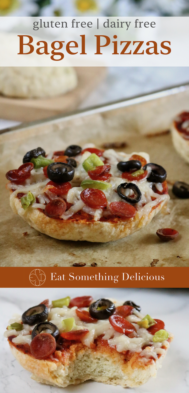 "Two images of bagel pizzas joined together for Pinterest purposes with the words ""gluten free dairy free bagel pizzas"" over the top photo and the words ""Eat Something Delicious"" separating the top image from the bottom."