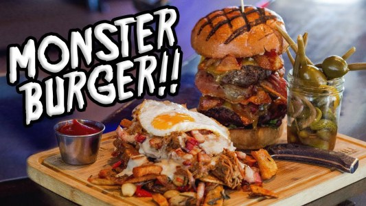 FILTHY MILL MONSTER BURGER CHALLENGE W/ DIRTY FRIES!!