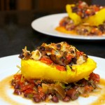 Stuffed Spaghetti Squash with Black Bean Ragu