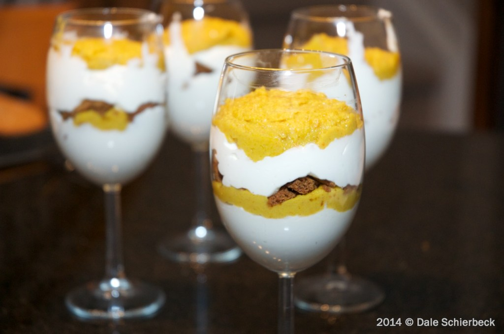 Persimmon Parfait with Mascarpone-Cream and Gingersnap Crumble