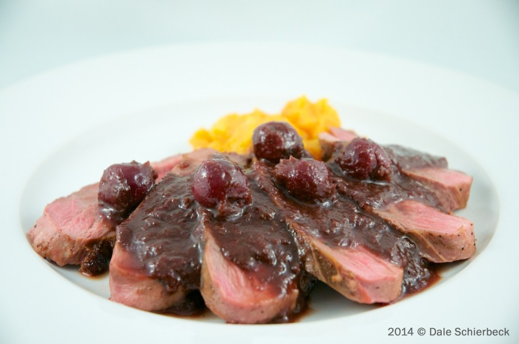 Serve duck with sour cherry sauce
