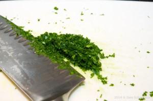 Chiffonade parsley
