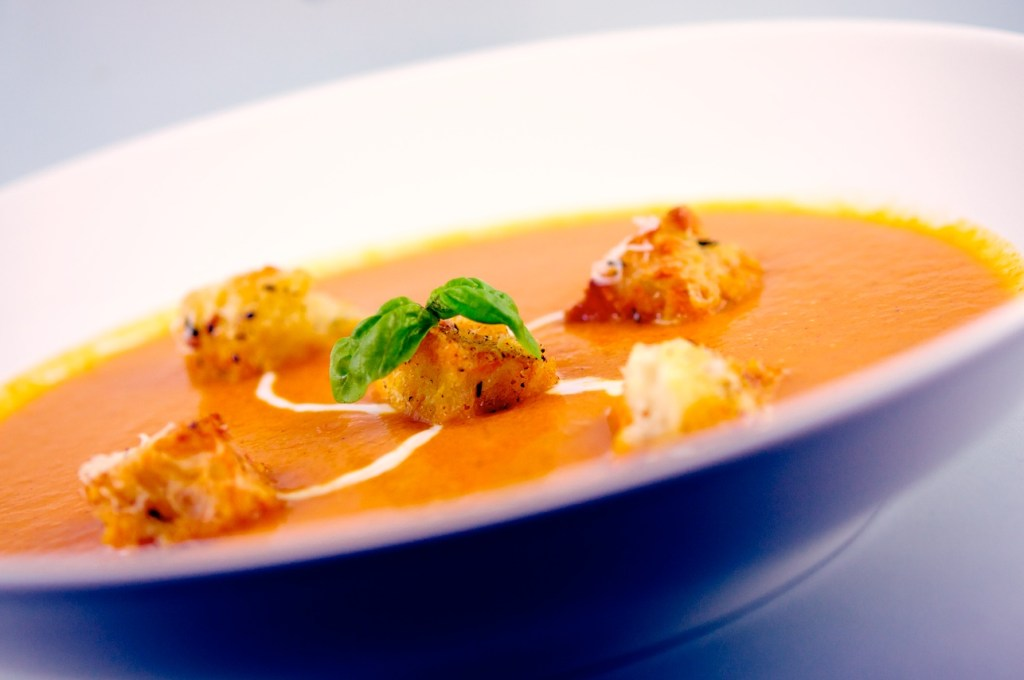 Roasted Tomato Soup with Parmesan-Thyme Croutons