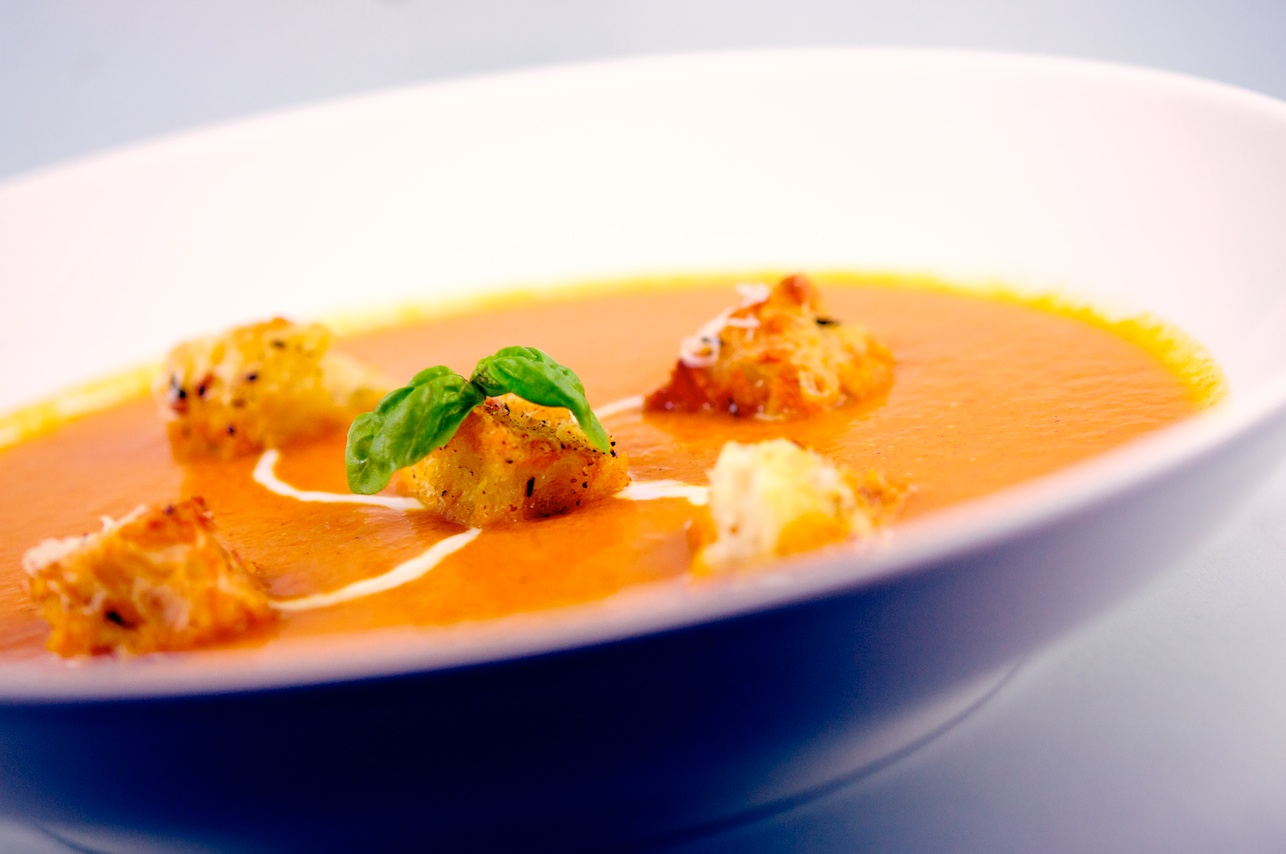 Roasted Tomato Soup with Parmesan Croutons