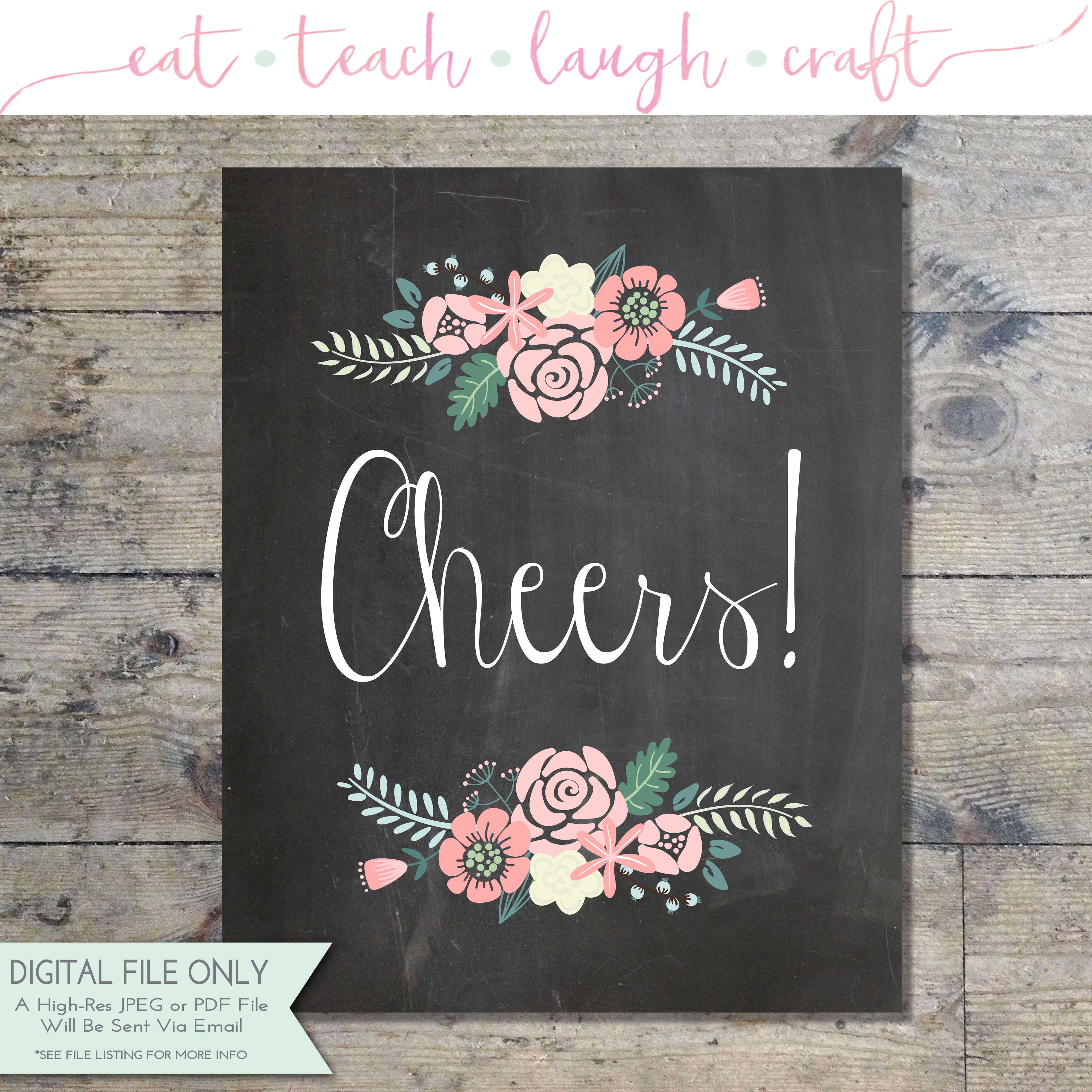 Home Sweet Home Quotes Wallpaper Cheers Wedding Chalkboard Floral Print Bridal Shower
