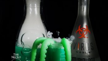halloween boo zy beverage evil genius with glowing green tentacles