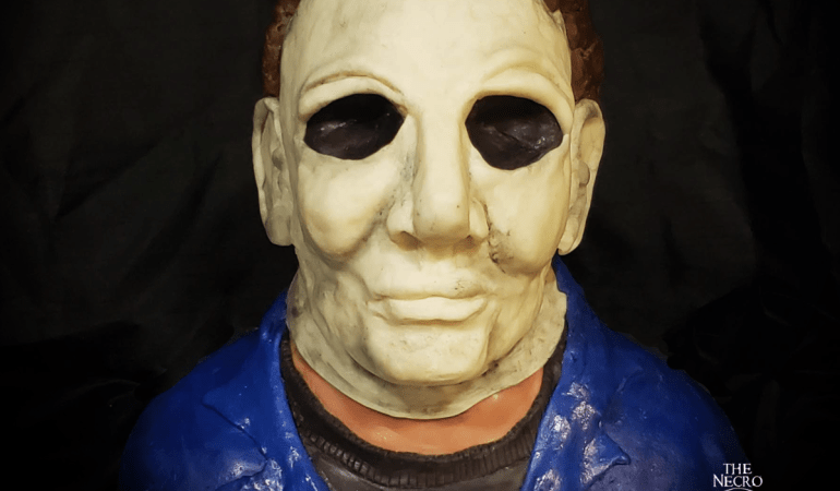 Closeup of final finished Michael Meyers cake