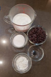 Ingredients for the Hot Chocolate and Frozen Oogie Boogie whip pudding