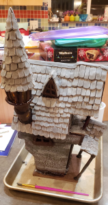 All the roof tiles put onto the Jack Skellington Nightmare Before Christmas gingerbread house