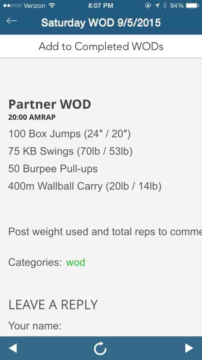 Making the Gains - 20 minute Partner WOD