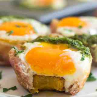Meal Prep Prosciutto Plantain Egg Cups with Spicy Chimichurri