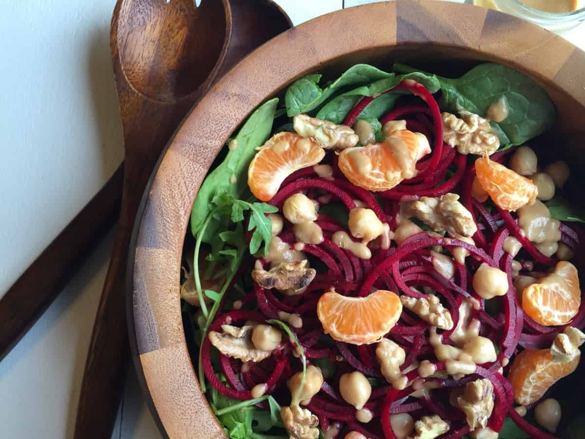 Raw Beet Salad with Pear Ginger Vinaigrette