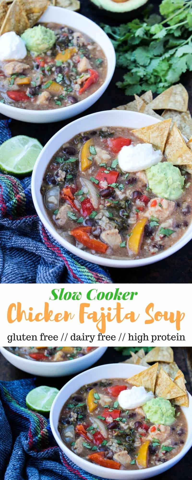 An easy dump and set meal, thisSlow Cooker Chicken Fajita Soup has all the main ingredients for chicken fajitas in a delicious, comforting, and healthy soup - Eat the Gains