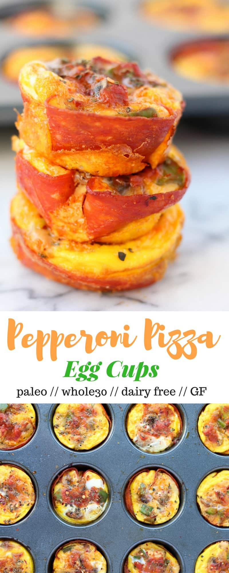 Pepperoni Pizza Egg Cups take the flavors of pizza and make it into a paleo and Whole30 approved breakfast, great for meal prep or breakfast on the go! - Eat the Gains