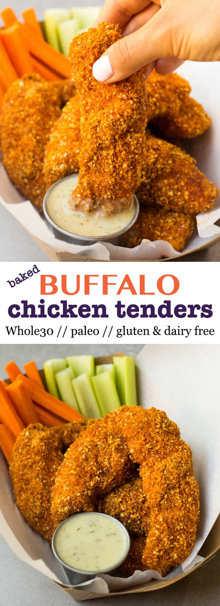 A healthy and gluten free spin on Buffalo Chicken Tenders! They take 30 minutes and are paleo & Whole30 approved - perfect for lunch, dinner, or tailgating! - Eat the Gains