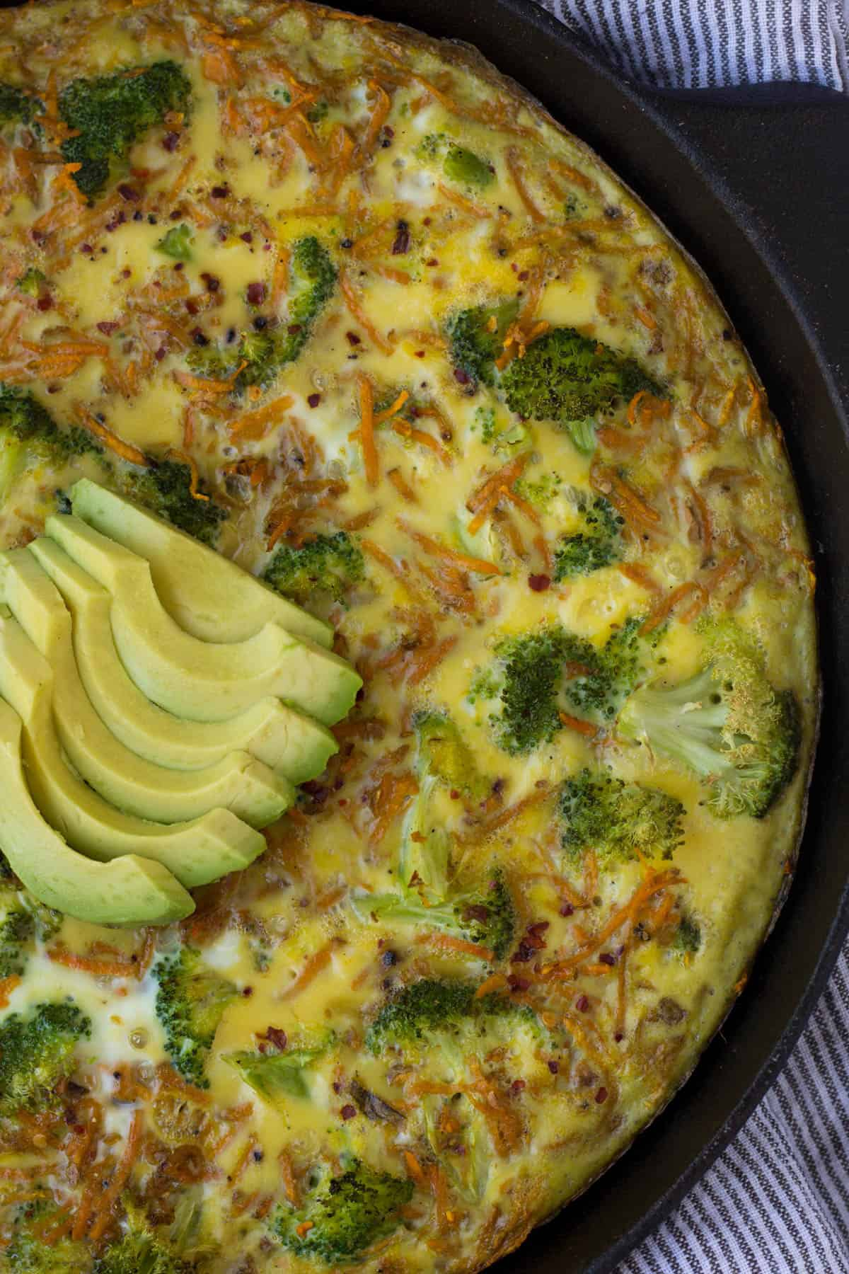 An easy and healthy breakfast, this Sweet Potato Broccoli Frittata packs veggies, carbs, protein, and healthy fats and is paleo and Whole30 approved! - Eat the Gains