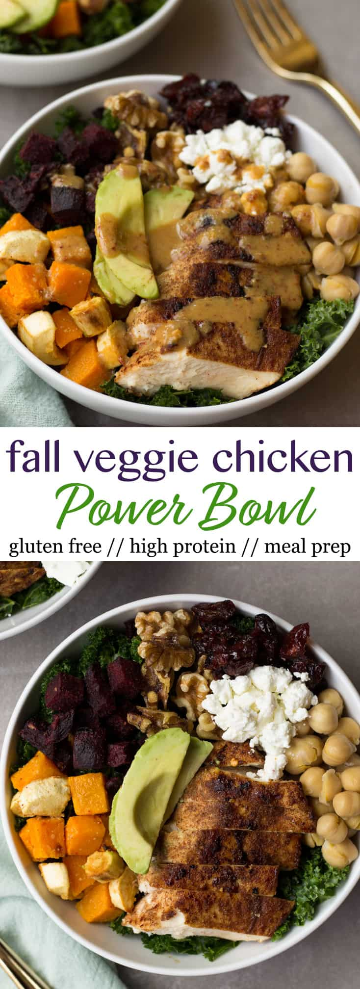 This Fall Veggie Chicken Power Bowlmakes the perfect light, healthy, and gluten free winter meal - packed with protein, carbs, and healthy fats and so manyvitamins & minerals! - Eat the Gains