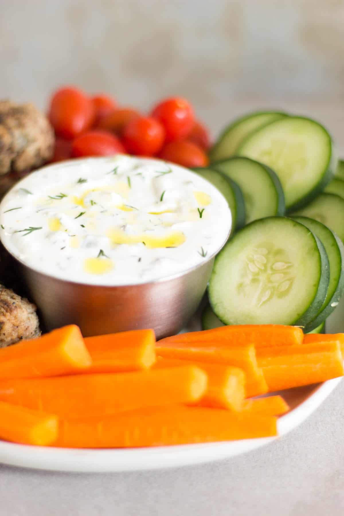 Fresh veggies and homemade tzatziki sauce