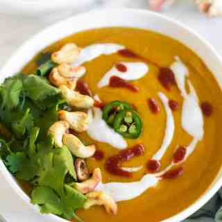 Instant Pot Creamy Curry Cauliflower Butternut Squash Soup