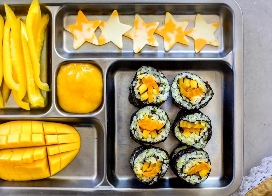 Sunshine Veggie Sushi with a Mango Honey Lime Dipping Sauce