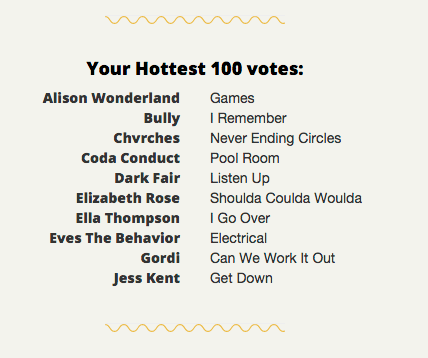 My Hottest 100 picks