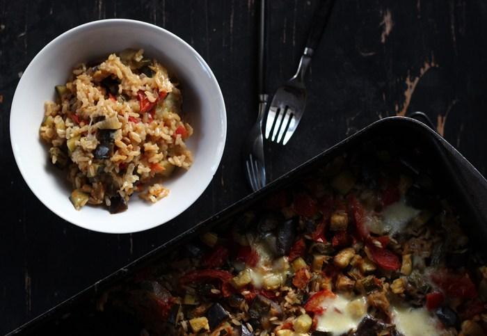 baked rice veg and bocconcini