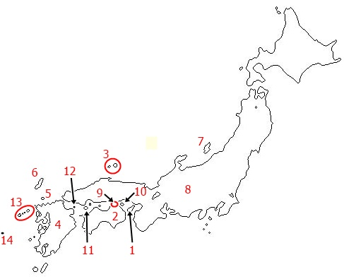 The birth order of islands in Japan