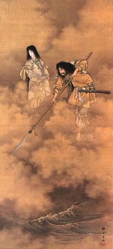 Izanagi(Right) and Izanami(Left) are churning the sea.