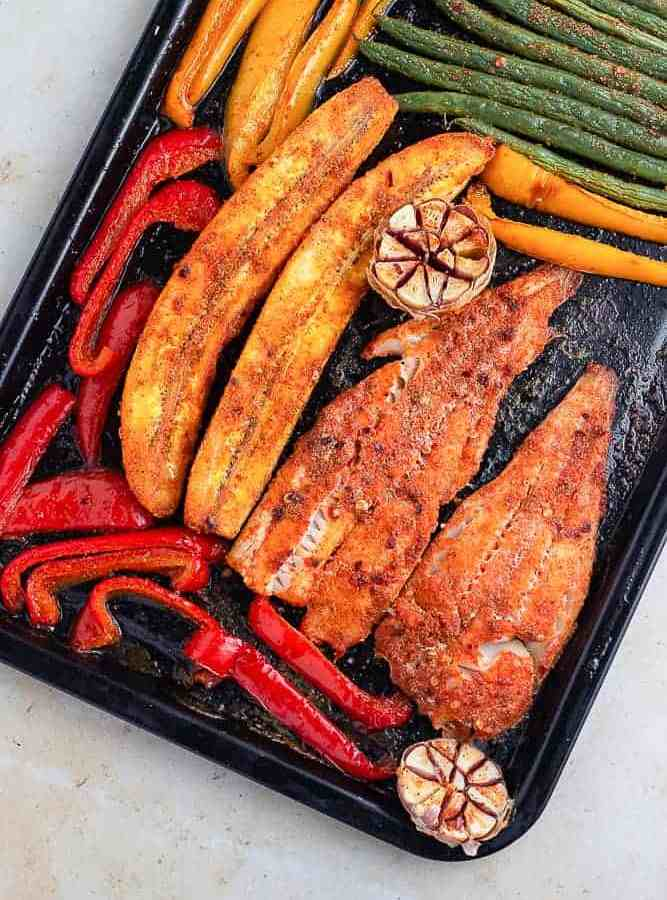 Plantain and fish in a sheet pan