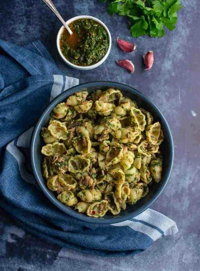 Pasta tuna with Moroccan Chermoula