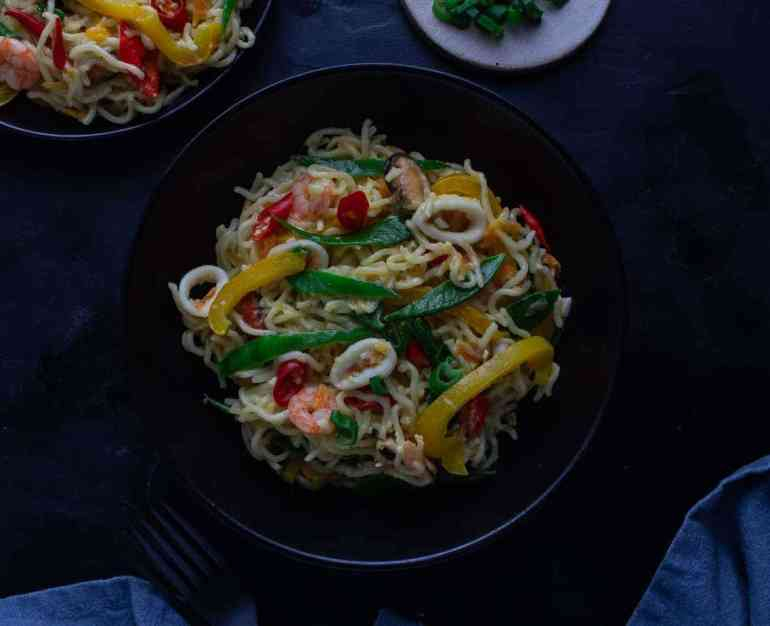 Nigerian Indomie noodles with vegetables in a bowl