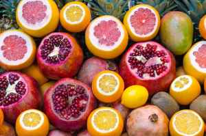 Food fruit pomegranite lemon orange background