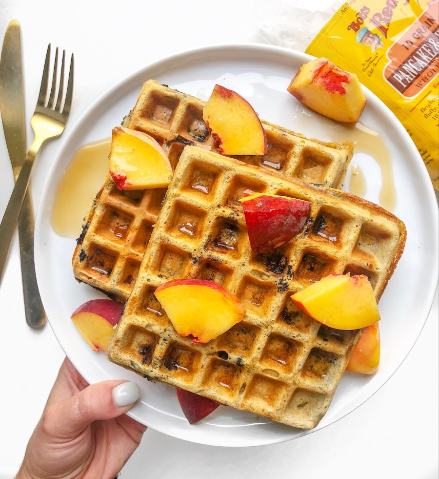 Whole Grain Blueberry Waffles with Fresh Peaches