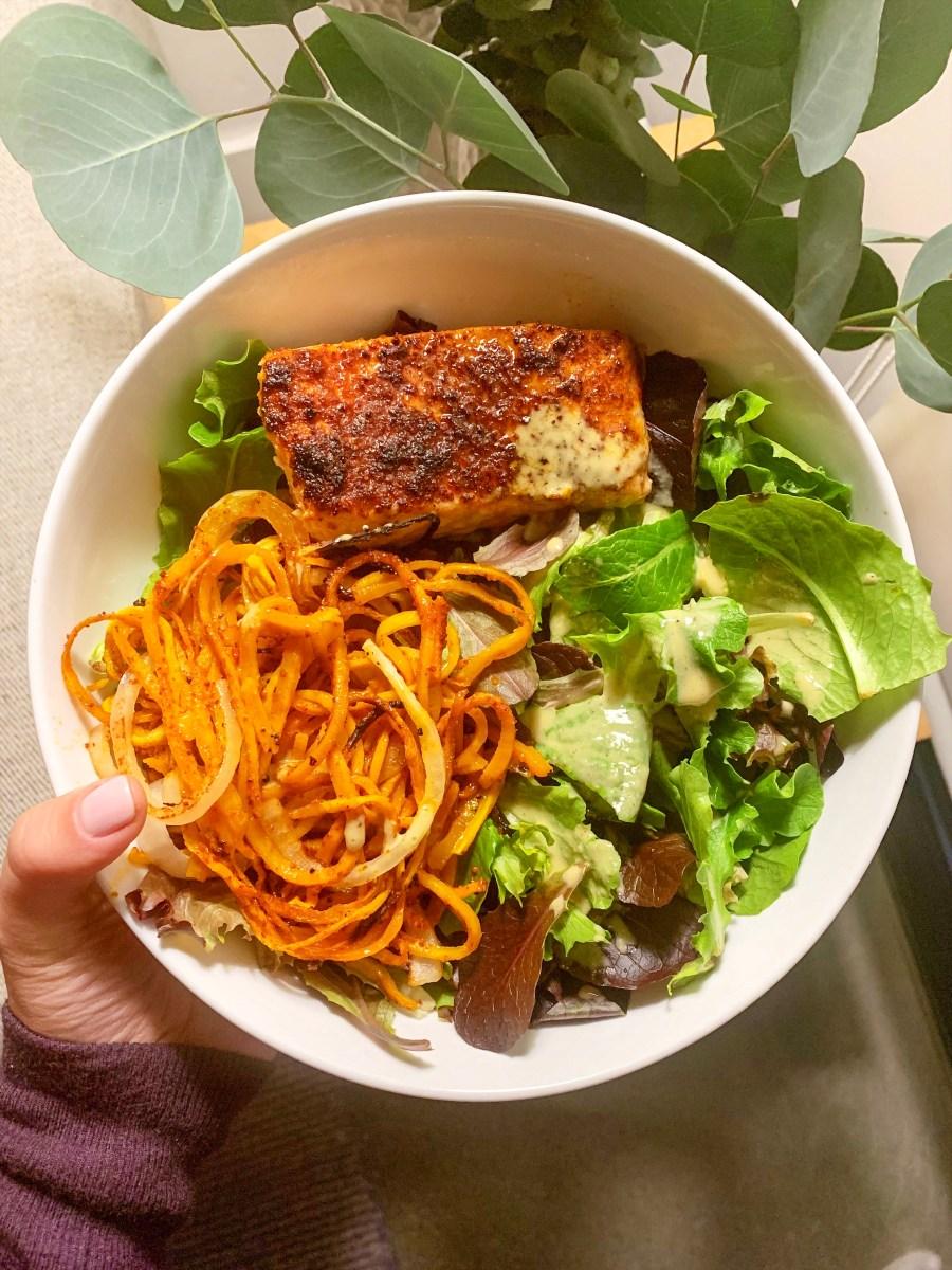ONE SHEET DINNER: CHILI LIME BUTTERNUT SHOESTRING FRIES & SALMON
