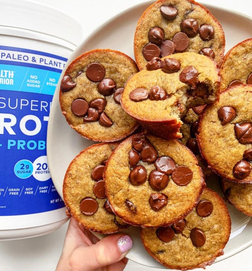 Protein Banana Chocolate Chip Muffins