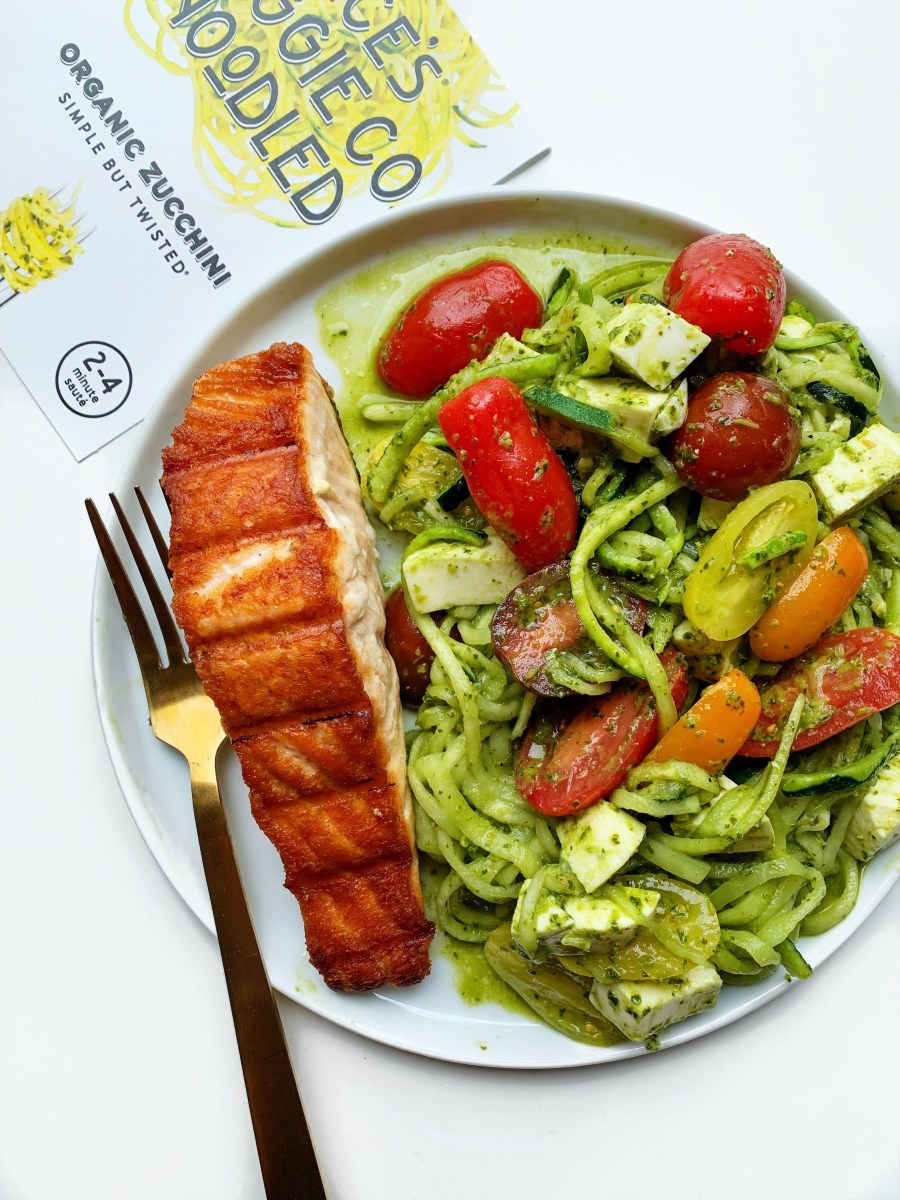 Caprese Pesto Zoodles with Grilled Salmon