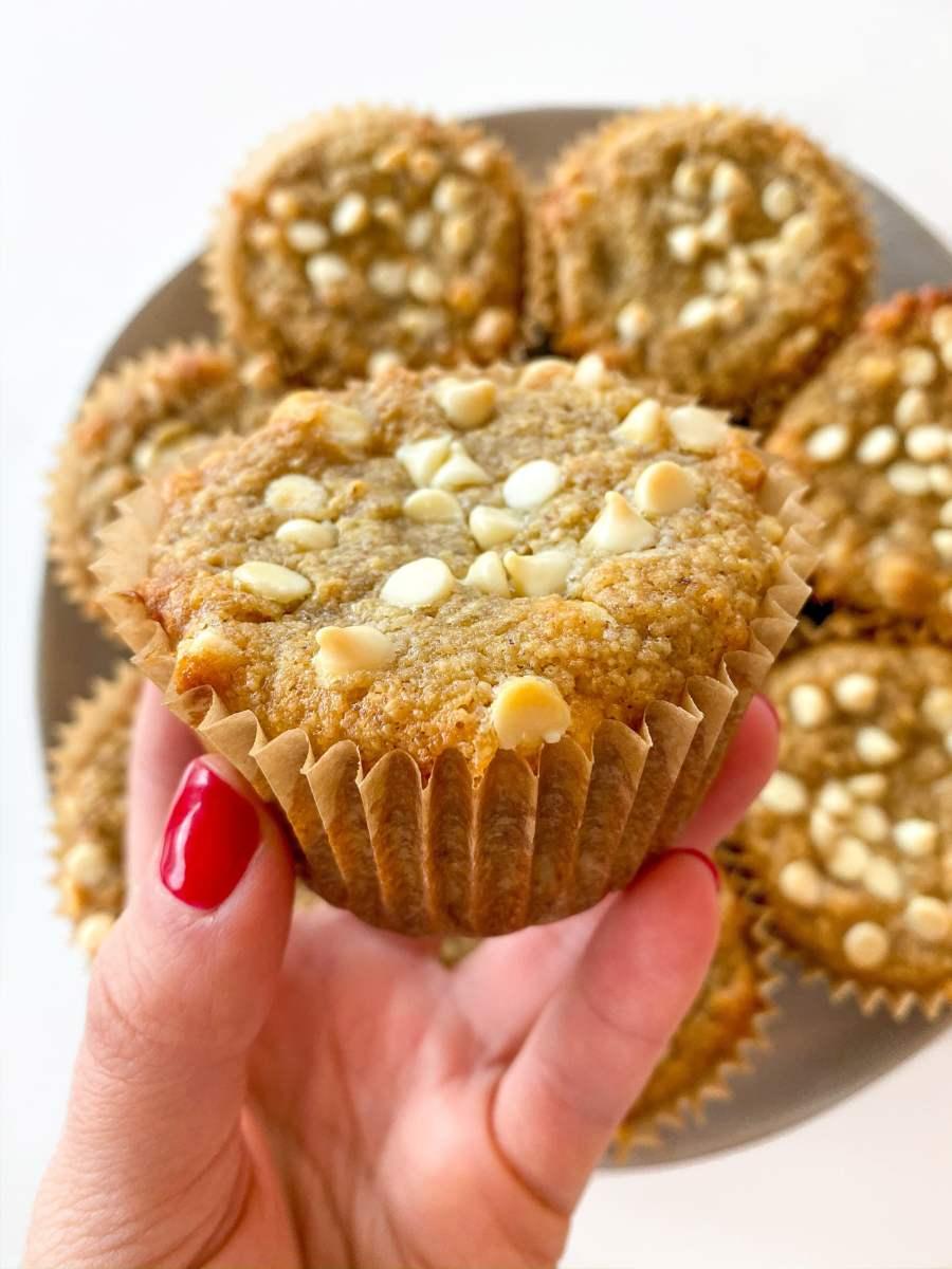 Peanut Butter White Chocolate Banana Muffins