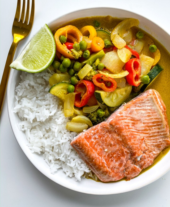 Wild Alaska Salmon with Coconut Peanut Curry Vegetables