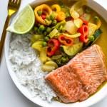 Wild Alaska Salmon with Coconut Peanut Curry Vegetables