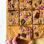 Gluten Free Vegan Loaded Peanut Butter Cup Blondies